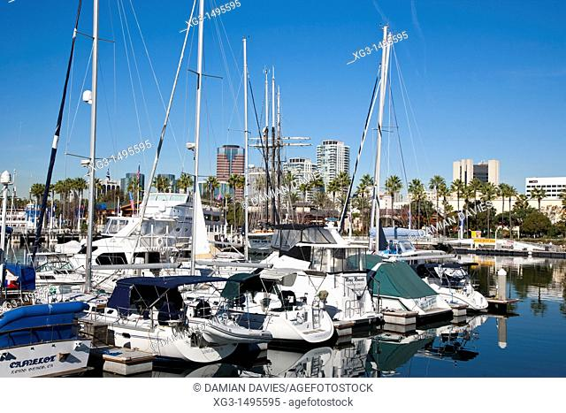Boats in the harbour at Long Beach, California, USA