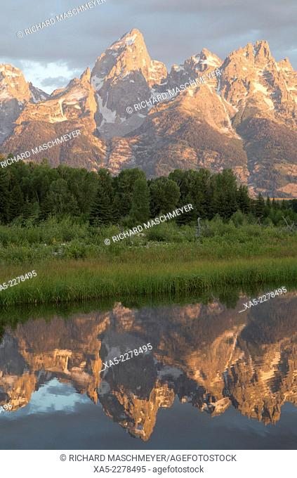 Water reflections of the Teton Range, taken from the end Schwabacher Road, Grand Teton National Park, Wyoming, USA
