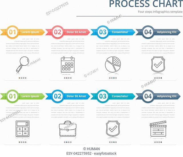 Process chart, flow chart template, infographics design elements with numbers, and text, business infographics, workflow, steps, options