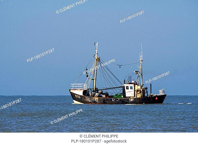 Shrimp trawler / shrimper fishing for shrimps in the North Sea along the Belgian coast near Nieuwpoort / Nieuport, West Flanders, Belgium