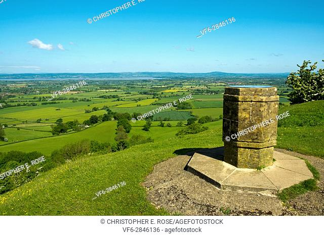 England, Cotswolds, Gloucestershire, Nympsfield, Frocester Hill, Coaley Peak viewpoint, View over the Severn Vale