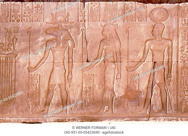Relief with the gods Horus, Hathor and Khnum