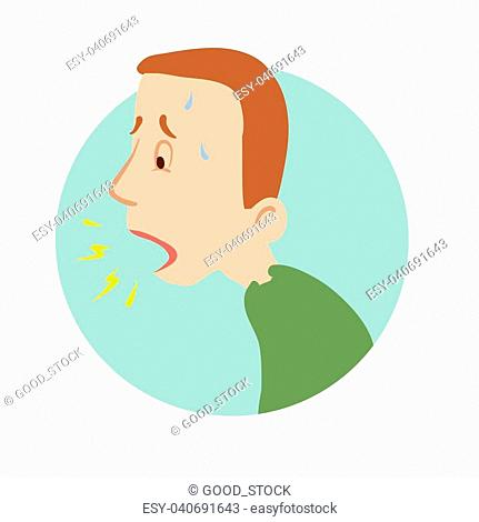 Young man coughing, shortness of breath, sickness icon. Vector flat illustration, isolated on white background