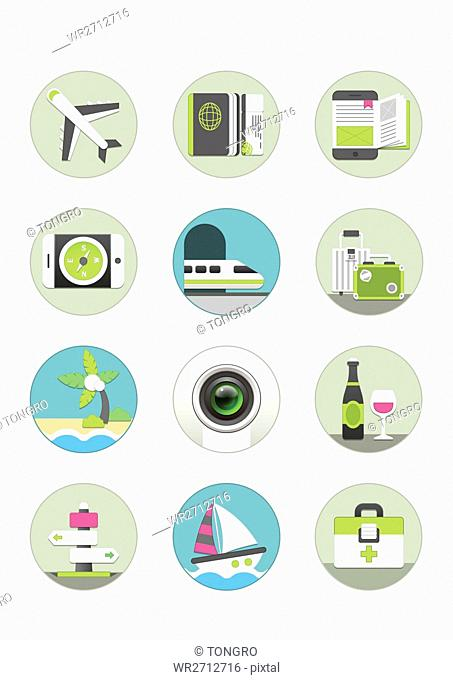 Various icons related to overseas travel