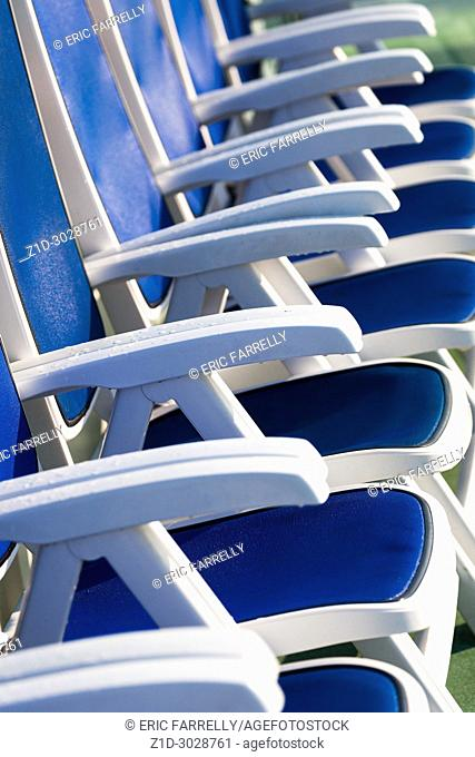 Deck chairs on board passenger ship