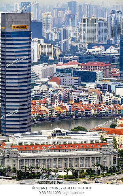 An Aerial View Of The Fullerton Hotel, Boat Quay and The Singapore Skyline, Singapore, South East Asia