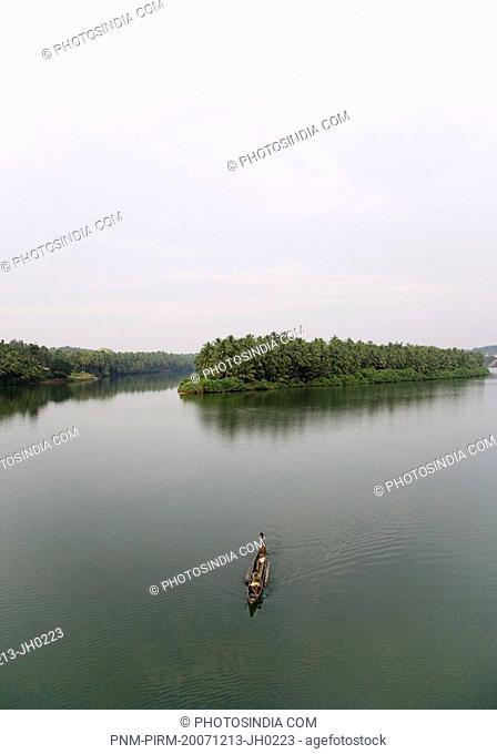 Boat in a lake, Kukkarahalli Lake, Mysore, Karnataka, India