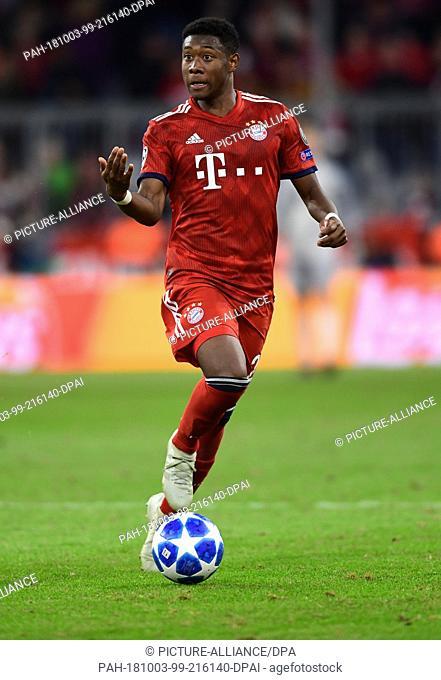 01 October 2018, Bavaria, Munich: Soccer: Champions League, Bayern Munich -