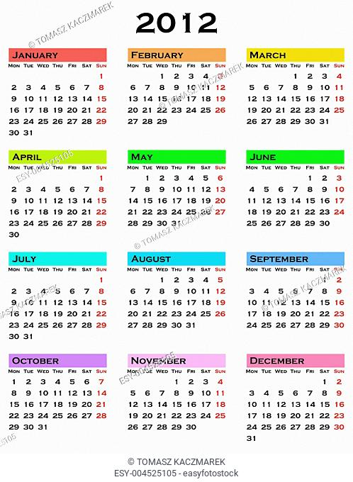 colorful calendar for 2012 year
