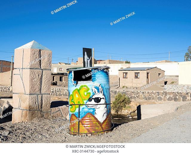 Painted rubbish bin. Mining town San Antonio de los Cobres, main town in the departamento Los Andes in Salta province. South America, Argentina