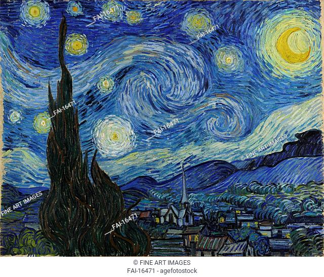 The Starry Night. Gogh, Vincent, van (1853-1890). Oil on canvas. Postimpressionism. 1889. © Museum of Modern Art, New York. 73,7x92,1. Painting