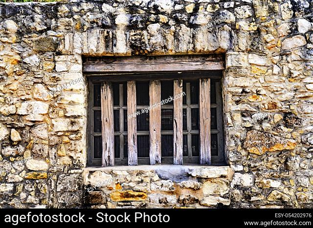Alamo Mission Stone Wall Window Wood Rails Background Abstract San Antonio Texas. Site 1836 battle between Texas patriots and Mexican army