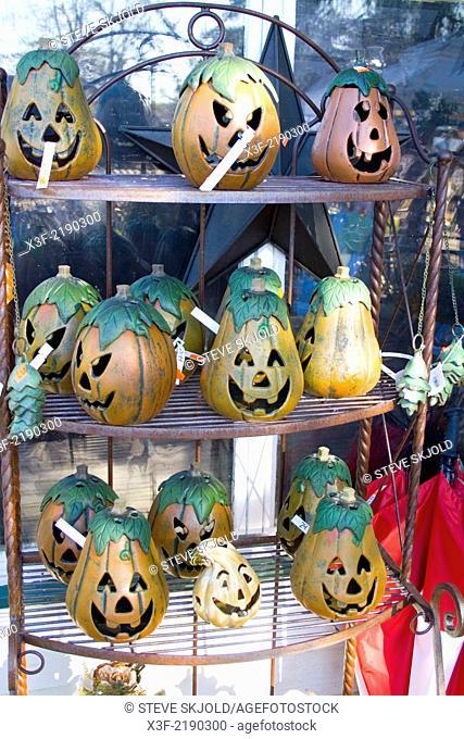 Halloween jack-o'-lanterns for sale. Garden Gate at Crabtree's, Marine on Saint Croix Minnesota MN USA