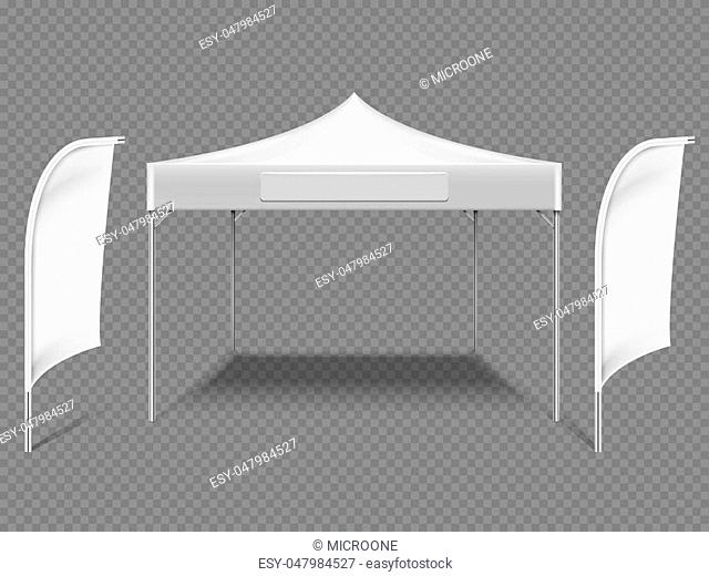 White promotional advertising outdoor event tent with beach flags. 3d realistic vector mock up isolated on transparent background