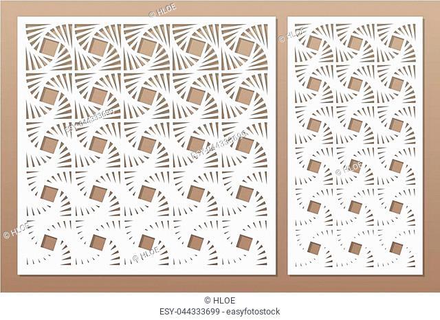 Set decorative card for cutting laser or plotter. Geometric square pattern. Laser cut. Ratio 1:1, 1:2. Vector illustration