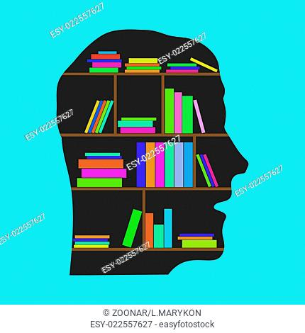 Head Library - flat concept vector illustration