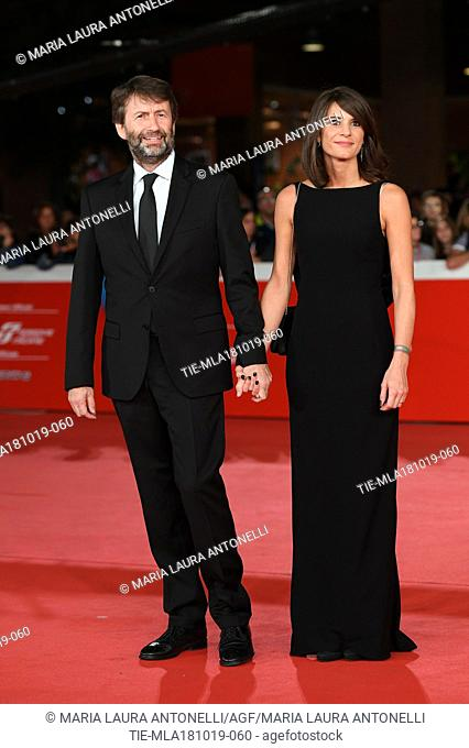 Italian Minister of Cultural heritage Dario Franceschini and wife Michela Di Biase during the red carpet of film Motherless Brooklyn at the 14th Rome Film...