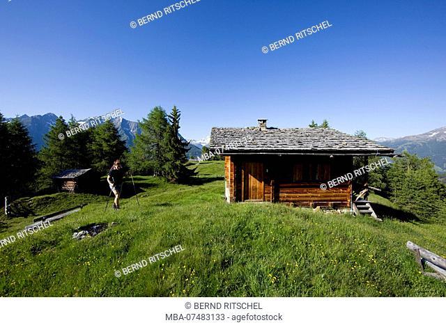 Hiker on Weberstein, Hohe Tauern, East Tyrol, Austria