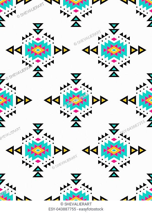 Aztec style seamless pattern with tribal ornament. Ornamental ethnic background collection. Can be used for fabric prints, surface textures, cloth design
