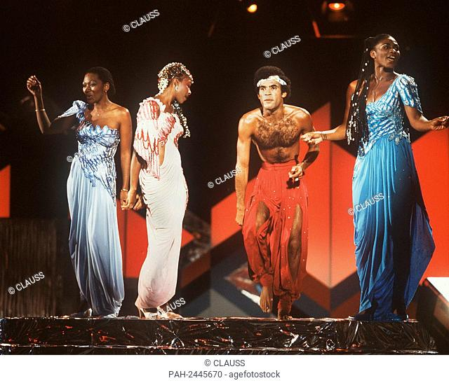"""The pop group """"""""Boney M."""""""" during a performance in Berlin in September 1981. - Berlin/Germany"""