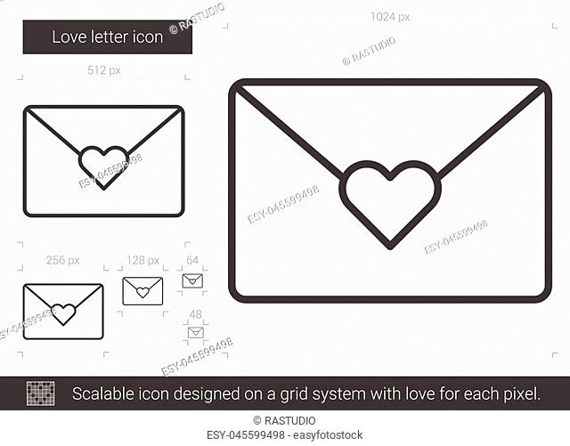 Love letter vector line icon isolated on white background. Love letter line icon for infographic, website or app. Scalable icon designed on a grid system
