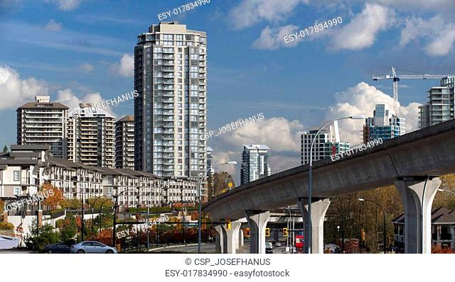 Modern buildings and townhouses in Canada