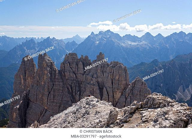 View from the Paternkofel after the south in the Dolomites, Sexten Dolomites, South Tirol, Northern Italy, Italy