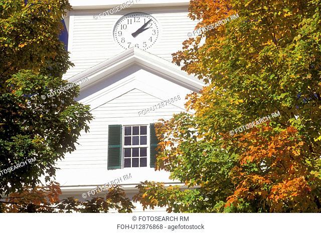 white church, Dublin, NH, New Hampshire, Community Church in the town of Dublin in the autumn