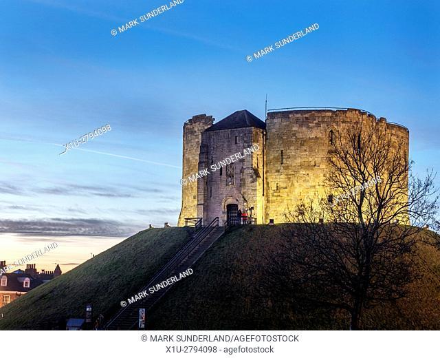 Cliffords Tower Floodlit at Dusk City of York Yorkshire England