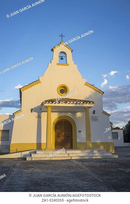 Badajoz, Spain - Oct 21th, 2018: San Isidro Hermitage Shrine at Badajoz outskirts. Sunset light
