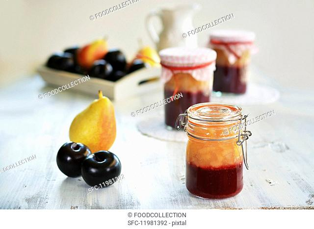 Homemade pear and plum jam