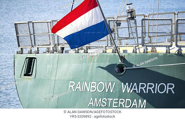 Greenpeace ship Rainbow Warrior in Las Palmas port, Gran Canaria, Canary Islands, Spain