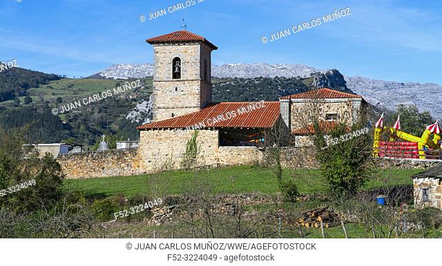 Santa Juliana church, Santayana, Soba Valley, Valles Pasiegos, Cantabria, Spain, Europe
