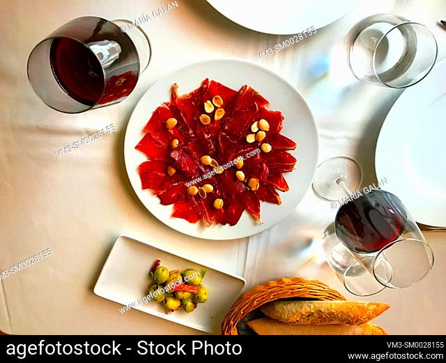 Cecina serving, view from above. Spain