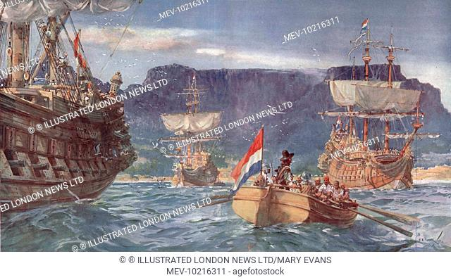Illustration of Johann van Riebeek landing at the Cape of Good Hope in 1652, from the Illustrated London News, 8th October 1927