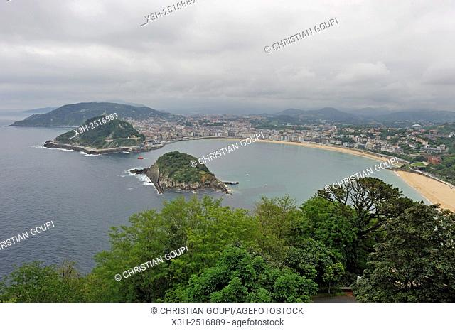 La Concha Bay viewed from the Monte Igeldo, San Sebastian, Bay of Biscay, province of Gipuzkoa, Basque Country, Spain, Europe
