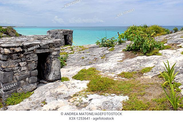 The ocean's view from the ruins of Tulum Yucatan Mexico