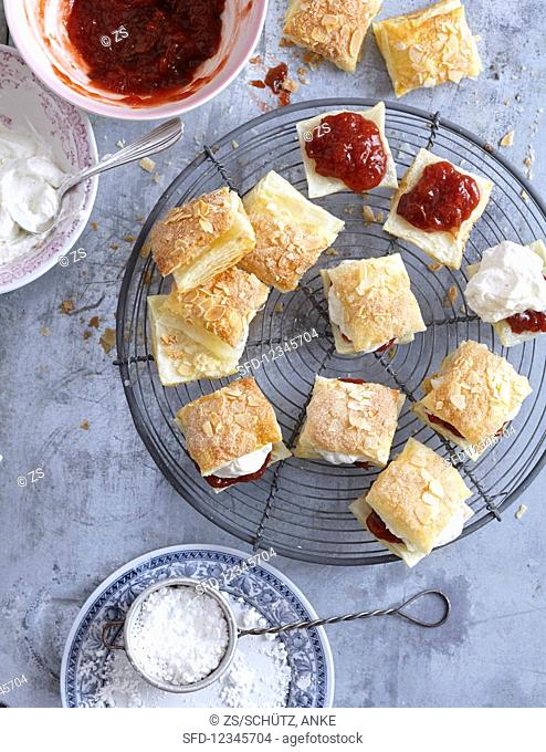Pastries with jam and cream