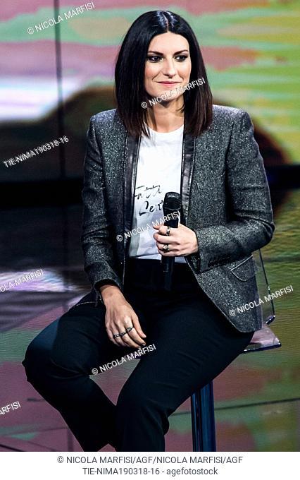 The Italian singer Laura Pausini at tv show Che tempo che fa, Milan, ITALY-18-03-2018