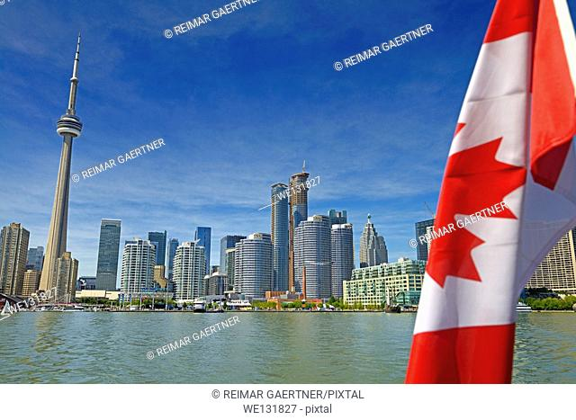 Toronto skyline with CN Tower and harbourfront on Lake Ontario
