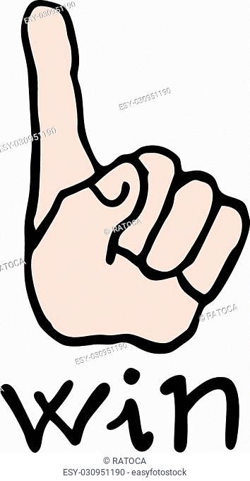 Creative design of win hand icon