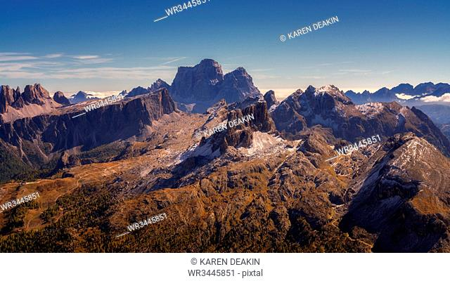 View of the Dolomites from the top of Monte Lagazuoi, Dolomites, Italy, Europe