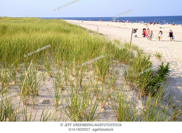 Massachusetts, Cape Cod, Nauset Beach, Cape Cod National Seashore, dune, grass, sunbathers, sand, Atlantic Ocean