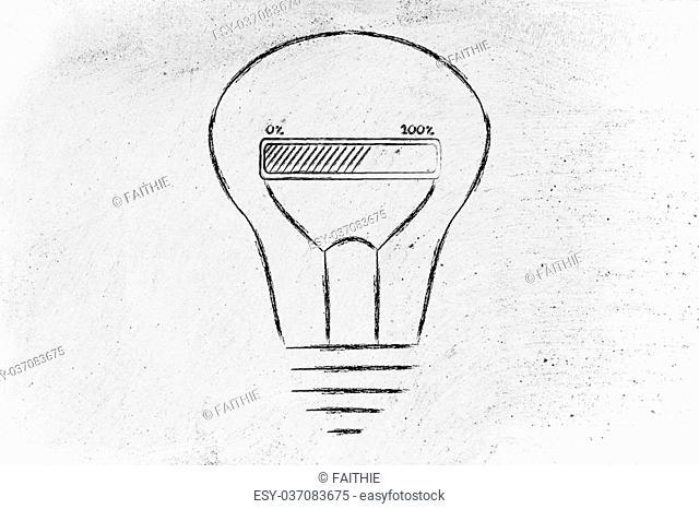 progress bar inside a lightbulb: concept of idea loading, brainstorming and developing an innovation