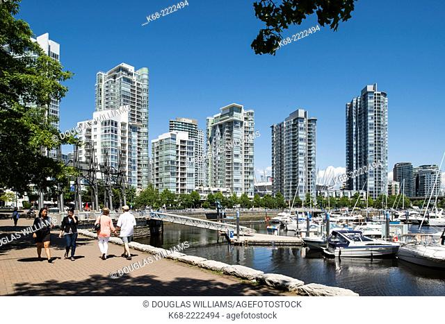 pedestrian and bicycling path on the seawall around the north shore of False Creek, Vancouver, BC, Canada