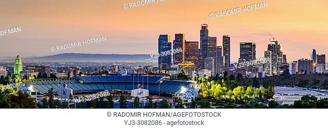 Los Angeles skyline and Dodgers baseball stadium, California, USA