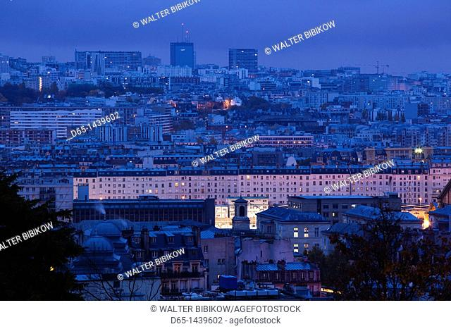 France, Paris, elevated dawn city view from the Place du Sacre Coeur, dawn