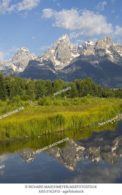 Teton Range from Schwabache Landing, Grand Teton National Park, Wyoming, USA