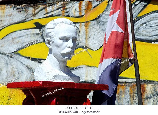 Bust of Josi Marti and cuban flag, Callejon de Hamel, Havana, Cuba