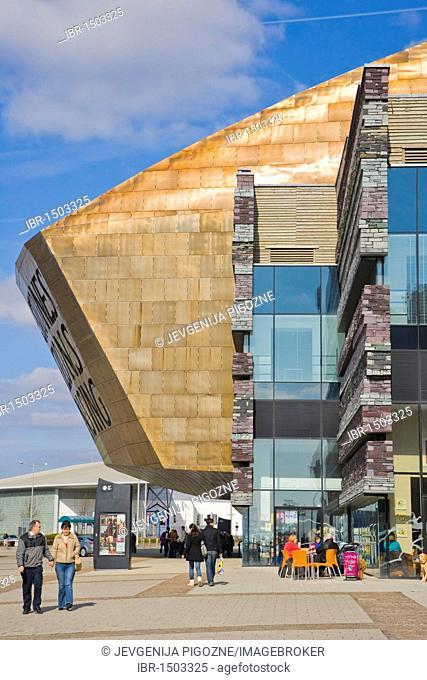 Wales Millennium Centre or Canolfan Mileniwm Cymru, home of Welsh National Opera, WNO, Cardiff Bay, Cardiff, Caerdydd, Wales, United Kingdom, Europe
